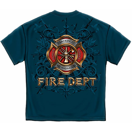 Men's Firefighter Fire Department Blue T-Shirt