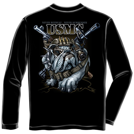 US Marine Corps Bulldog USA Black Long Sleeve Tee Shirt