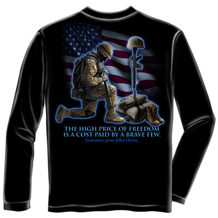 US Army High Price Of Freedom USA Patriotic Black Long Sleeve Tee Shirt