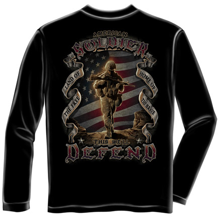 American Soldier Army USA Patriotic Black Long Sleeve Tee Shirt