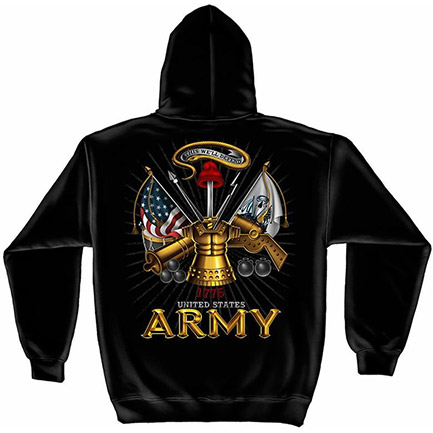 Black Men's US Army Hooded Sweatshirt
