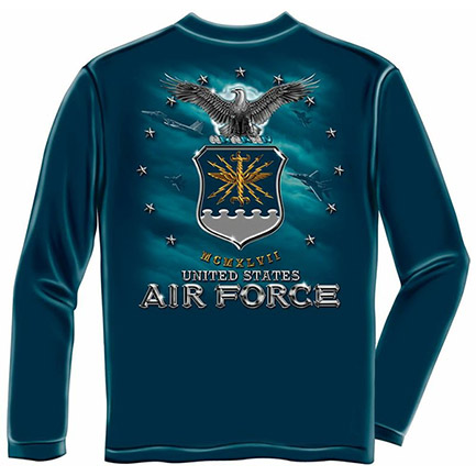 Men's Blue Long Sleeve US Air Force Eagle Crest Shirt
