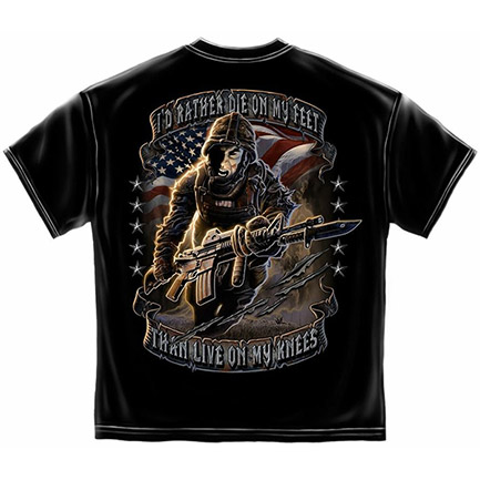 Men's Black I'd Rather Die On My Feet United States Army Tee Shirt