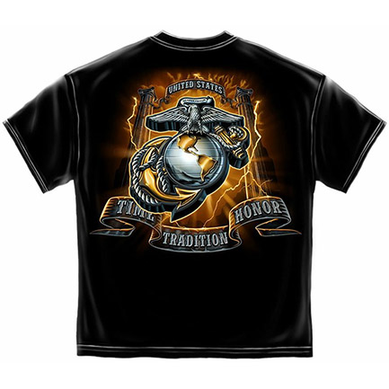 Time Tradition Honor Men's Black Marine Corp Tee Shirt