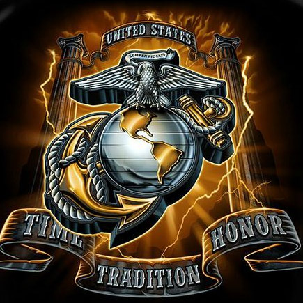 Time Tradition Honor Men's Black Marine Corp Tee Shirt