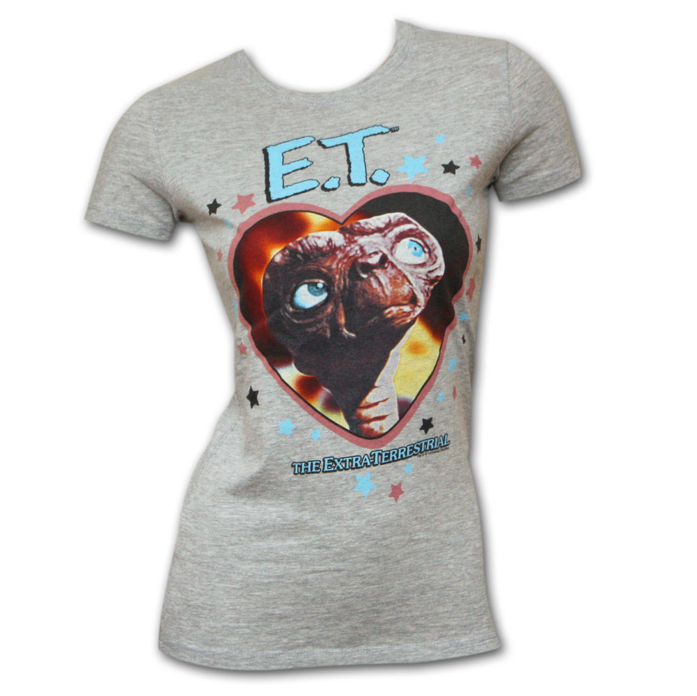ET Extra Terrestrial Heart Grey Juniors Graphic Tee Shirt