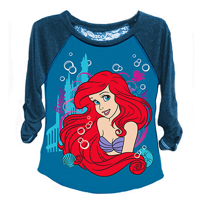 Disney The Little Mermaid Girls 7-16 Raglan Sleeve Ariel Tee Shirt