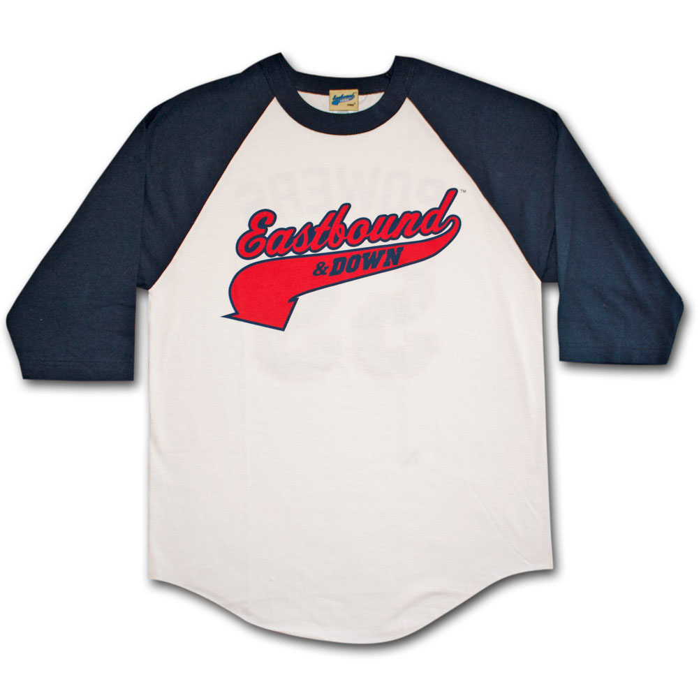 Eastbound down white baseball jersey graphic t shirt for Baseball jersey t shirt custom