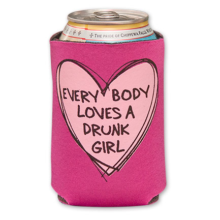 Pink Everybody Loves A Drunk Girl Beer Can Koozie