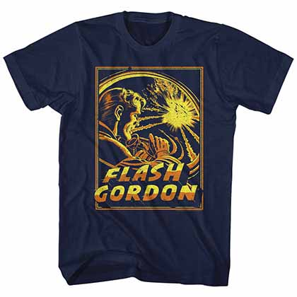 Flash Gordon Space Explosion Mens Blue T-Shirt