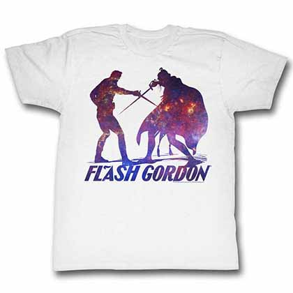 Flash Gordon Silhouphite Mens White T-Shirt