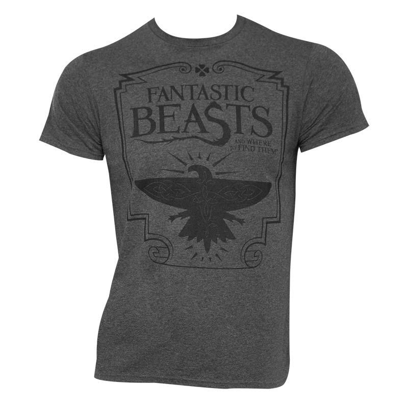 Fantastic beasts men 39 s heather grey logo t shirt Mens heather grey t shirt