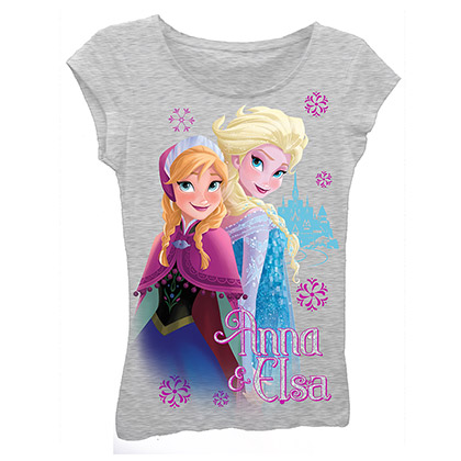 Disney Frozen Girls 7-16 Grey Sisters T-Shirt