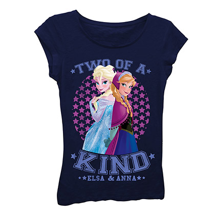Disney Frozen Girls 7-16 Black Two Of A Kind T-Shirt