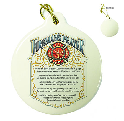Firefighter Fireman's Prayer Porcelain Ornament