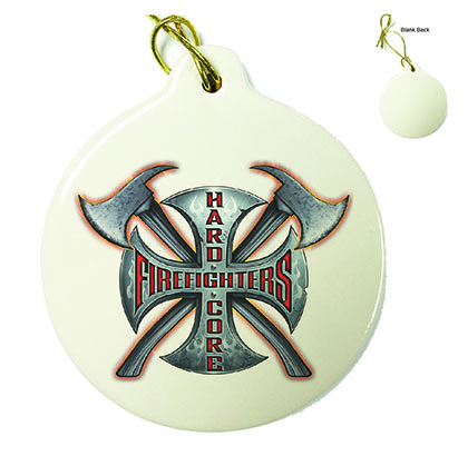 Hard Core Firefighter Porcelain Ornament