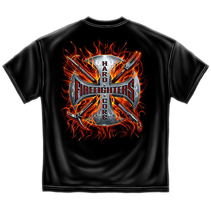 Black Firefighters Cross Patriotic Tee Shirt
