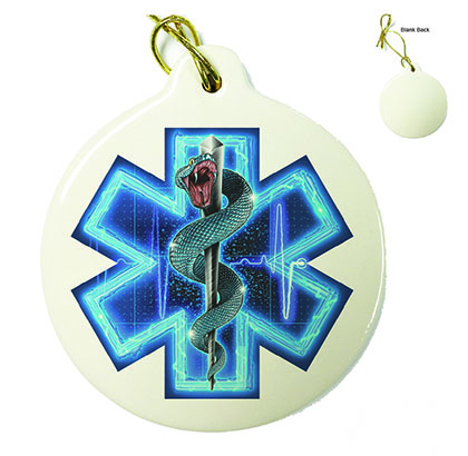 Silver Snake EMT On Call Porcelain Ornament