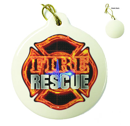 Firefighter Fire Rescue Porcelain Ornament