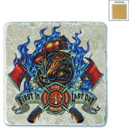 Firefighter First In Last Out Stone Coaster