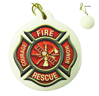 Firefighter Classic Fire Maltese Porcelain Ornament