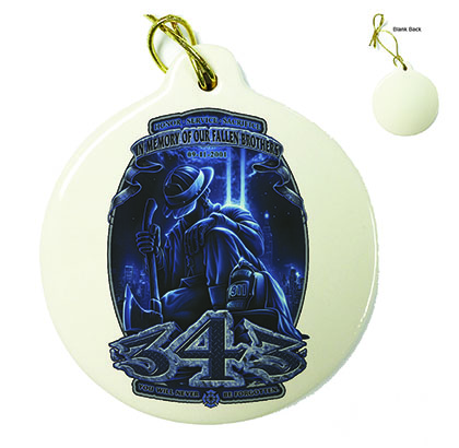 Firefighter 343 You Will Never Be Forgotten Porcelain Ornament