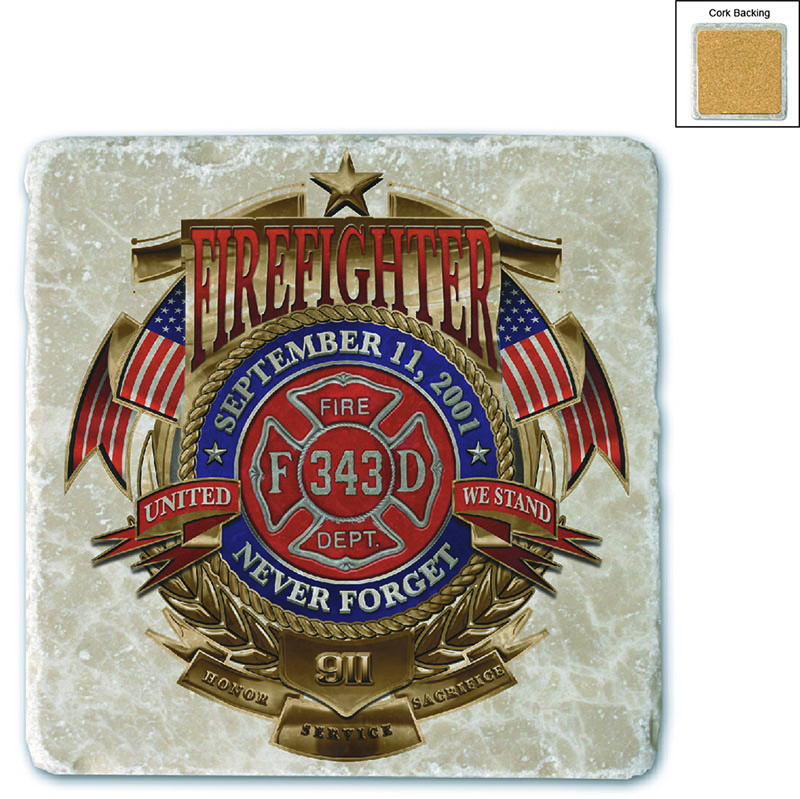 Firefighter Badge Of Honor Stone Coaster