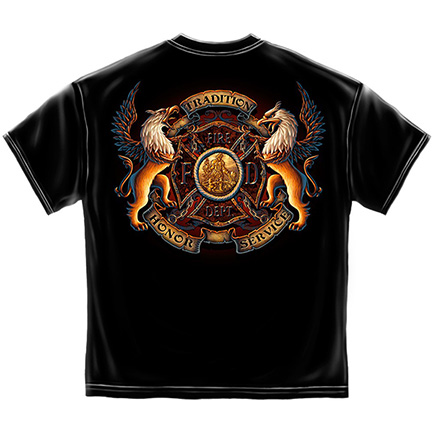 Men's Black Tradition Honor Service Firefighter TShirt