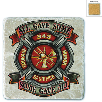 True Hero Firefighter Stone Coaster