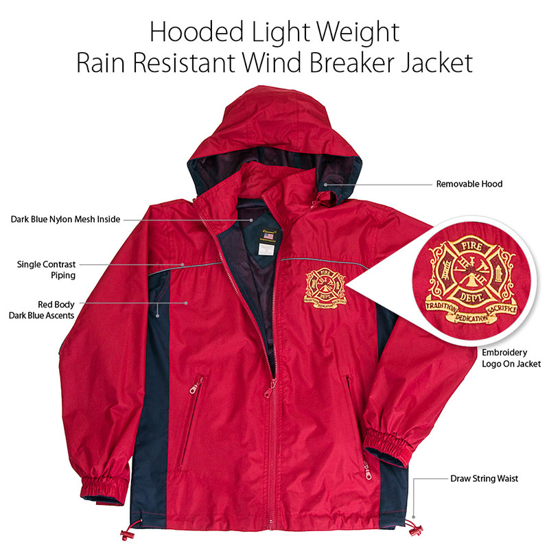 Firefighter Fire Department Windbreaker Mens Red Jacket