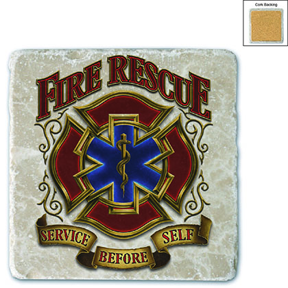 Firefighter Fire Rescue Gold Shield Stone Coaster
