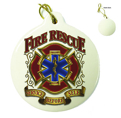 Fire Rescue Gold Shield Porcelain Ornament