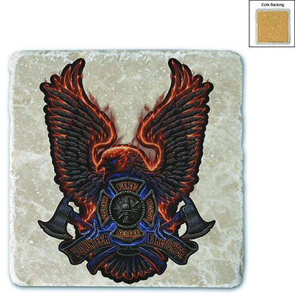 Firefighter Volunteer Fire Eagle Stone Coaster