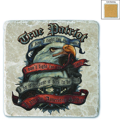 American Soldier True Patriot Stone Coaster