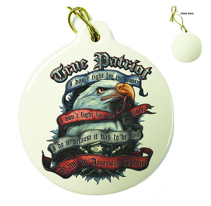 American Soldier True Patriot Porcelain Ornament