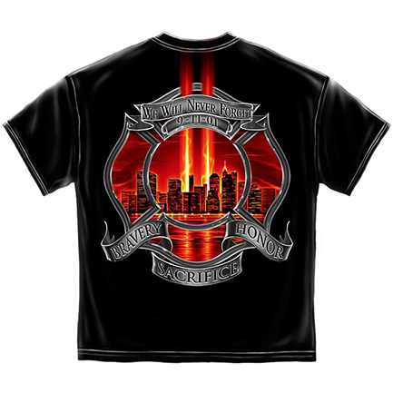 Men's Black Firefighter Never Forget Patriotic Tee Shirt
