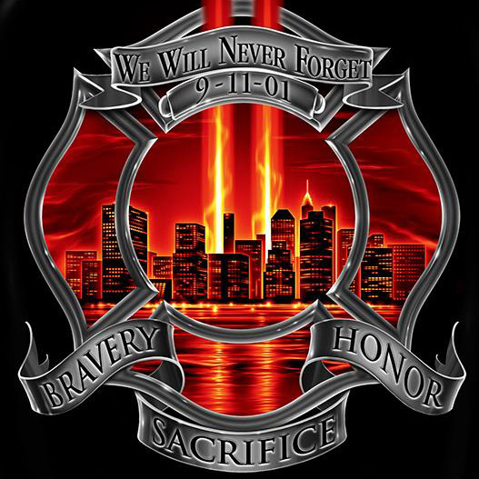 Firefighter Bravery Never Forget 9/11 T Shirt