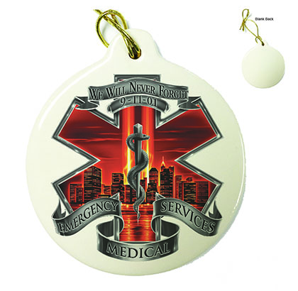 Red High Honor EMS Tribute Porcelain Ornament