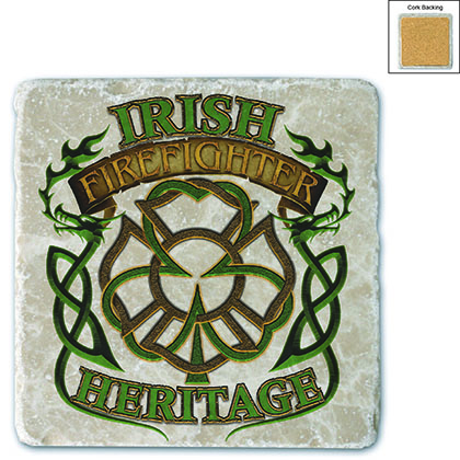 Irish Firefighter Heritage Stone Coaster