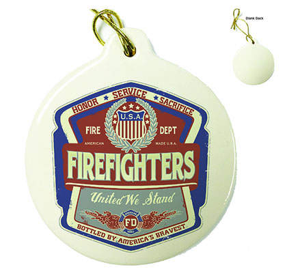 Firefighter Denim Fade Porcelain Ornament