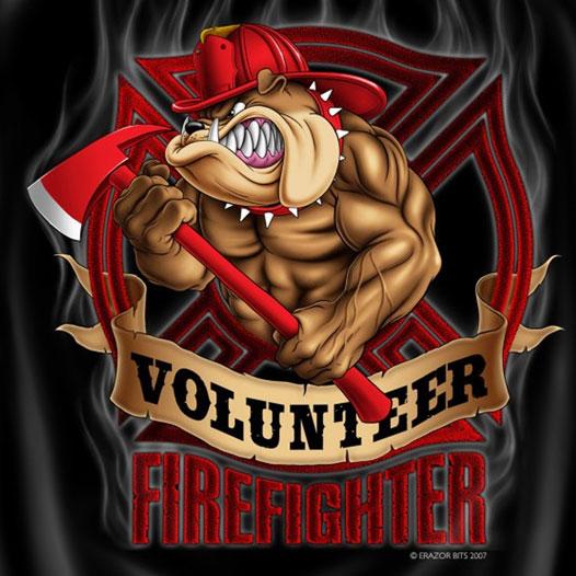 volunteer firefighter dog patriotic logo tshirt