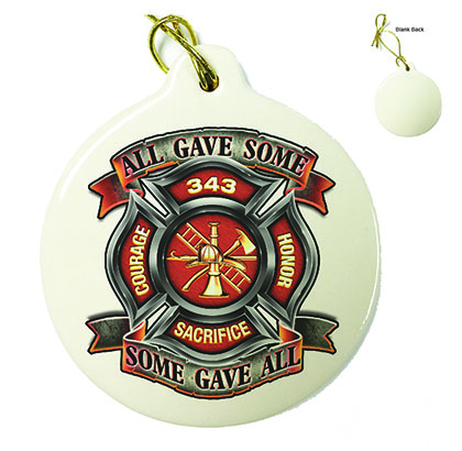 Fire Honor Courage Sacrifice 343 Badge Porcelain Ornament
