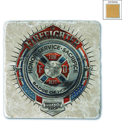 Fire Honor Service Sacrifice Chrome Badge Stone Coaster