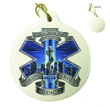 911 EMS Blue Skies We Will Never Forget Porcelain Ornament