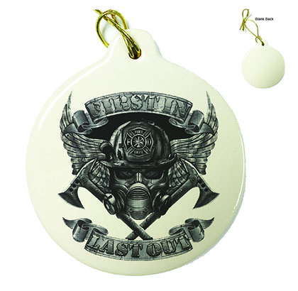 Firefighter Steel Wings Porcelain Ornament