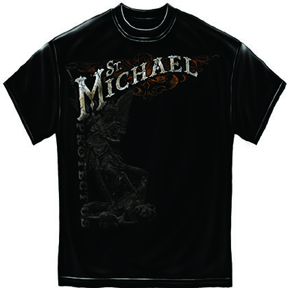 Firefighter St. Michael Protect Us Foil Black T-Shirt