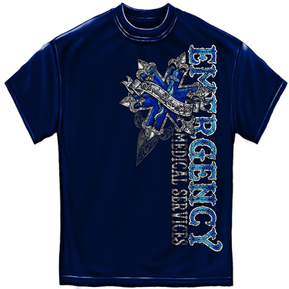 EMS Service Before Self Blue Foil T-Shirt