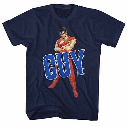 Final Fight Guy Mens Blue T-Shirt