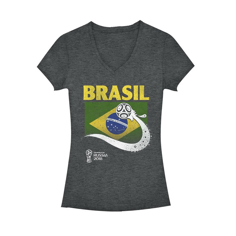 World cup 2018 brazil women 39 s vneck tshirt for Womens brazil t shirt