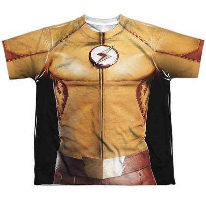 The Flash Justice League Yellow Youth Costume Tee